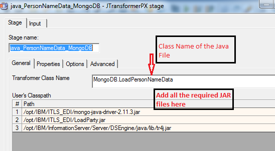Java Transformation stage used to load Person Name Data information